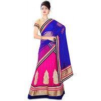 0d02feb207 Net & Satin Patch Work Pink Semi Stitched Lehenga Style Saree - 7018A