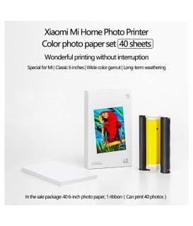 40pcs 6-Inch Photo Paper+ 1pc Ribbon for Xiaomi Mijia Mi Photo Printer