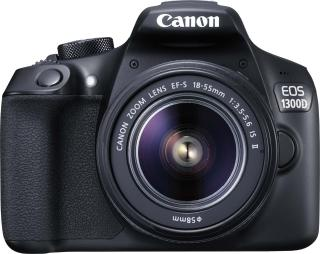 Canon EOS 1300D DSLR Camera Body EF-S 18 - 55 mm IS II + EF-S 55 - 250 mm F4 5.6 IS II Black