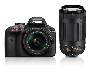 Nikon D3400 24.2 MP DSLR Camera AF-P 18-55mm AF-P 70-300mm ASP VR II Lens Black