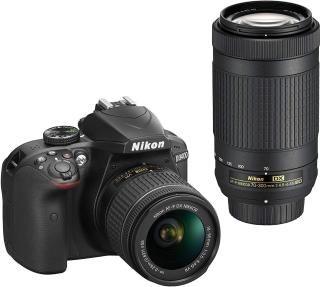 Nikon D3400 Digital Camera Kit (Black) with Lens AF-P DX Nikkor 18-55mm, 70-300mm f/4.5-6.3G ED VR Lens, 16 जीबी Class 10 SD Card and DSLR Bag