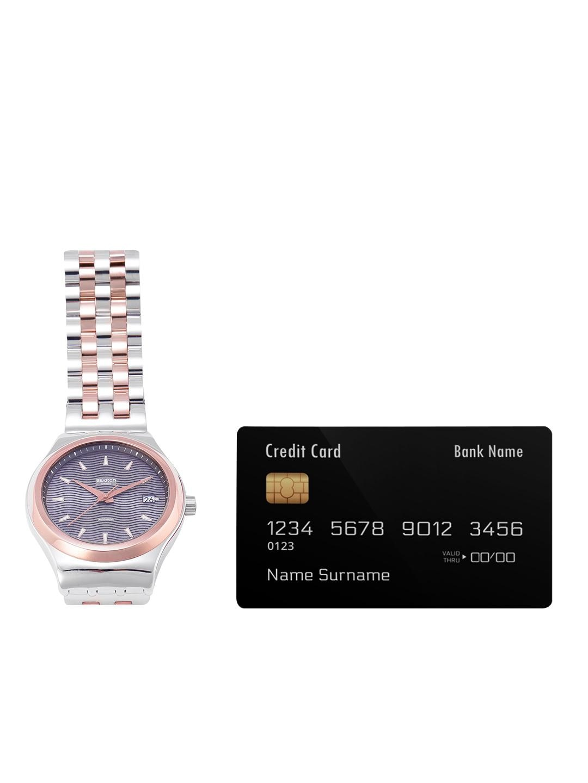 Swatch Unisex Gunmetal-Toned Swiss Made Analogue Watch YIS405G