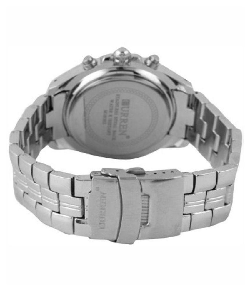 Curren Silver Metal Analog Watch for Men (Non-Functional Chronograph)