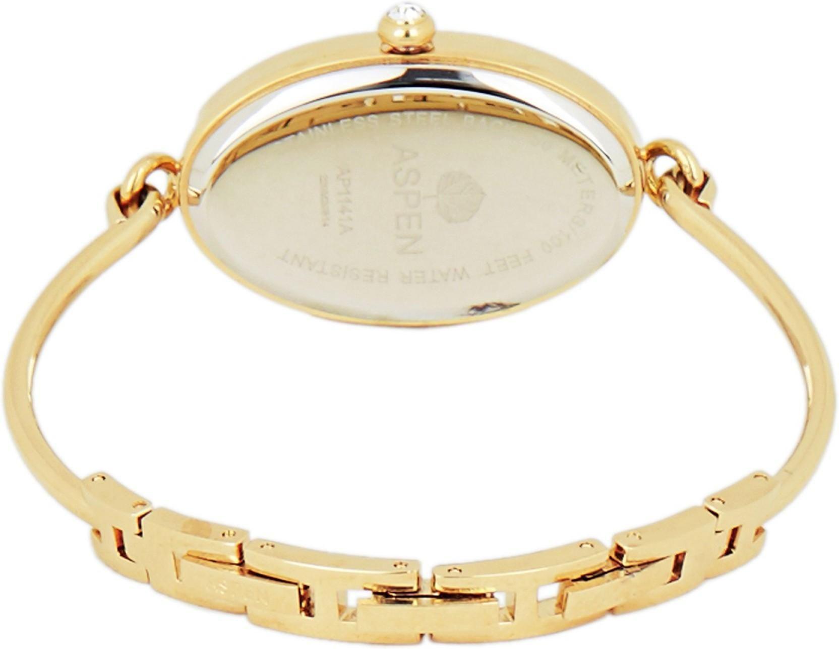 Aspen AP2022 Aspen Gold Dial Ladies Watch- Be Jewelled-AP2022 Watch - For Women
