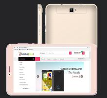 IKall N1(2+16GB) Dual Sim 4G Volte Calling Tablet 8 Inch display with Keyboard Cover,Golden