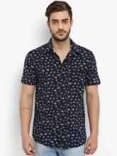 Mufti Men Navy Blue Slim Fit Printed Casual Shirt