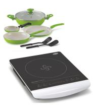 Glen Kitchen GL 3074 Induction Cooker + Alda Ceramic Coating Cookware Gift Set - 6 Pcs Glass Lid ( Combo)