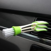 Essies Durable Soft Microfibre Car Air Conditioned Vents Outlet Cleaning Multifunction Brush Tool for Home (Green White)