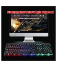 Backlit Game USB Keyboard Multimedia Keycap Lighting Color LED USB Cable For Gamers