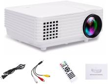 SAMYU Best Quality Full HD support 1080p LED Projector for home cinema entertainment Play games watch TV and Sports Low Price Portable Projector(White)